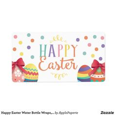 Happy Easter Water Bottle Wraps, Easter Sticker Shipping Label, easter water bottle, happy easter water bottle, egg hunt water bottle, easter party, easter, easter egg hunt, easter celebration, easter party bottle, egg hunt, chalkboard, confetti