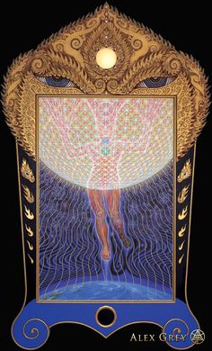 Transfiguration - 1993, oil on linen, 60 x 90 in. frame 104 x 156 in. Alex Grey