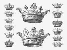 Vector graphics of detailed and drawn royal crowns. Headwear pieces decorated with diamonds, pearls, crosses, flowers, plant leaves and fleur de lis symbols. Free vectors for kings, queens, monarchy, royal power, dynasties and rulers visuals. Crowns graphics for vintage posters. Vector Crowns by Dezignus.com