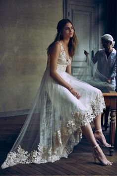 Bohemian lace wedding dress with hi-low hem, designed by Marchesa Notte Bridal.   Opal Gown from BHLDN