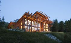 This modern timber frame home is based off PrecisionCraft's Cascade plan.