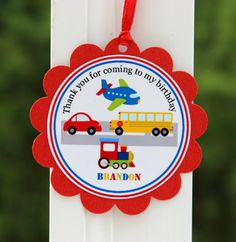 Transportation Birthday Gift TagsTransportation by PolkaPartyDecor