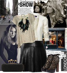 """""""Trend Alert: Leather Skirt - Blake Lively"""" by bklana ❤ liked on Polyvore"""