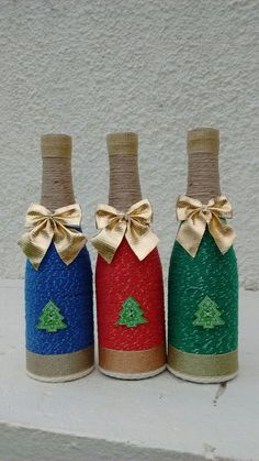 Diy Dco Scandinave Ideas 61 Ideas For 2019 Liquor Bottle Crafts, Wine Bottle Art, Painted Wine Bottles, Diy And Crafts, Christmas Crafts, Decorated Wine Glasses, Christmas Wine Bottles, Wine Craft, Bottle Painting
