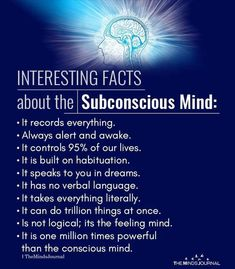 Interesting Facts About The Subconscious Mind – themindsjournal.c… – Interesting Facts About The Subconscious Mind – themindsjournal. Spiritual Psychology, Psychology Fun Facts, Educational Psychology, Health Psychology, Psychology Experiments, Developmental Psychology, Color Psychology, Dream Psychology, Psychology Careers