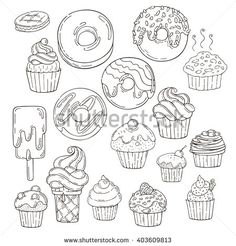 coloring pages - Set Candy Muffins Icons Cakes Sweets Stock Vector (Royalty Free) 403609813 Candy Drawing, Cupcake Drawing, Food Drawing, Drawing Ideas, Doodle Drawings, Easy Drawings, Doodle Cake, Doodle Doodle, Coloring Books