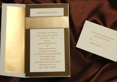 Filigree pattern band in brilliant gold wedding invitations with mocha star dreamer backer by The Office Gal