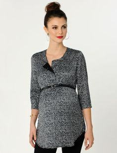 A Pea in the Pod 3/4 Sleeve Belted Maternity Tunic