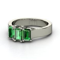 Blaze Ring, Emerald-Cut Emerald White Gold Ring from Gemvara