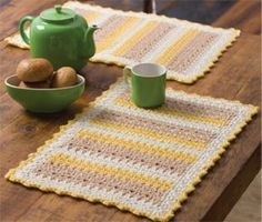 Follow this free crochet pattern to create cornmeal mats using Red Heart Super Saver worsted weight yarn.