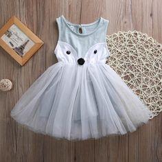 Girls Fox Princess Party Dress #babyclothessummer