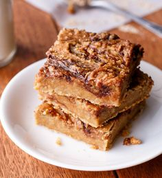 Peanut Butter and Jam Nutella Banana Blondies - Cafe Delites