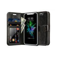 Jisoncase Wallet Case for iPhone X Case Cover Genuine Leather Folio Flip Pure Color Mobile Phone Cases for iPhone X Card Slot Mobiles, Mobile Phones