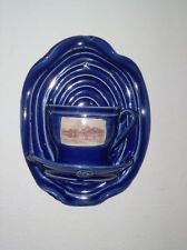 Cobalt blue tea cup kitchen wall pocket planter vase pottery -  Perfect color for my kitchen! vc