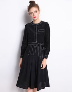 #AdoreWe Fantiow Black Single-breasted Silk Belted Midi Skater Dress - AdoreWe.com
