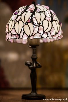 Stained glass lamp, amethyst stones, white bent glass, diameter 215mm, height 360mm