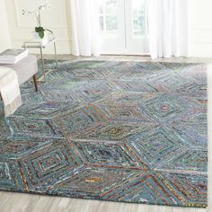 Safavieh Handmade Nantucket Modern Abstract Blue Cotton Rug - x Indoor Rugs, Outdoor Area Rugs, Nantucket, Wool Area Rugs, Blue Area Rugs, Jute Rug, Cool Rugs, Do It Yourself Home, Contemporary Rugs