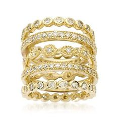 Ross-Simons - Set of Five 2.80 ct. t.w. CZ Eternity Bands in 14kt Yellow Gold Over Sterling - #460847