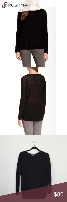 NWT Vince perforated black cashmere sweater Black cashmere sweater, boat neck, perforated back, loose fit. Brand new with tags. Vince Sweaters Crew & Scoop Necks