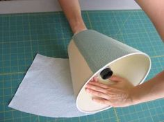 press fabric along lampshade