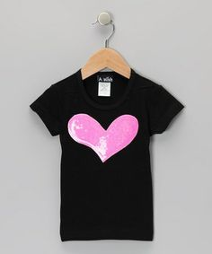 Another great find on #zulily! Black & Hot Pink Sequin Heart Tee - Toddler & Girls by A Wish #zulilyfinds