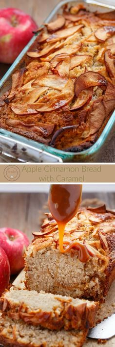Apple Cinnamon Bread with Caramel | http://thecookiewriter.com | #bread #apples #caramel #vegetarian