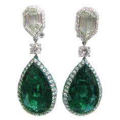 Emerald & Diamond Reversible Drop Earrings | From a unique collection of vintage drop earrings at https://www.1stdibs.com/jewelry/earrings/drop-earrings/