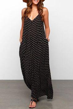 Spaghetti Strap Polka Dot A-Line Maxi Dress