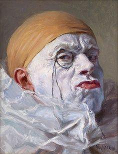 Armand Henrion, Self Portrait, Clown with Monocle, 1920s