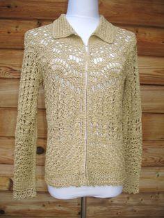69b798ae4c1fec Colleen Lopez Sz S Gold Metallic Crochet Knit Cardigan Sweater   ColleenLopez  Cardigan Sequin Cardigan