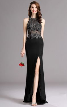 Carlyna Black Sleeveless Beaded Evening Gown with Slit Skirt Gown With Slit, Robes D'occasion, Sexy Gown, Affordable Prom Dresses, Illusion Dress, Evening Dresses, Formal Dresses, Mom Dress, Slit Skirt