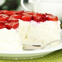 White Chocolate Cheesecake With Glazed Strawberry Topping Recipe from Grandmother's Kitchen