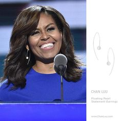 Michelle Obama wearing our Chan Luu Floating Pearl Earrings during her speech at the Democratic Convention! Link in profile to to shop ✨