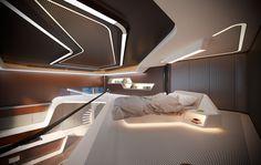 Suite in a contemporary hotel Futuristic Interior, Futuristic Design, Futuristic Bedroom, Estilo High Tech, Old Mansions Interior, Home Interior Design, Interior Architecture, Hotel Bedroom Design, Game Room Design