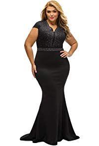 6c4948d46e9 shelovesclothing Women s Black Plus Size Rhinestone Front Bodice Scalloped  Neckline Maxi Gown Dress (XXX-Large UK)