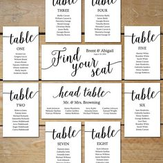 { Wedding Seating Chart Cards } These printable seating chart cards are easy-to-use templates in a variety of sizes that enable you to customize a unique seating plan for your wedding (or other special event). Perfect for placing in picture frame collages, attaching to boards, Table Seating Cards, Table Cards, Collage Picture Frames, Frame Collages, Diy Wedding Seating Chart, Wedding Seating Board, Wedding Send Off, Wedding Cards, Wedding Shit