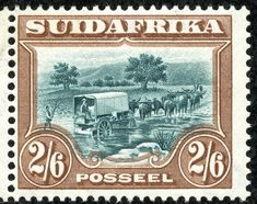 """Union of South Africa 1927 Scott brown & blue green """"Trekking"""" Old Stamps, Rare Stamps, Union Of South Africa, South Afrika, Handmade Books, African History, Fauna, Stamp Collecting, Postage Stamps"""