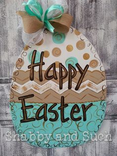 HAPPY EASTER Handpainted Wood Egg Door by shabbyandsuchdesigns
