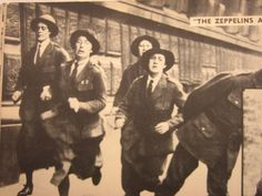 """British policewomen are pictured running and spreading the """"Zeppelin"""" alarm in London to notify of an air raid during WW1"""