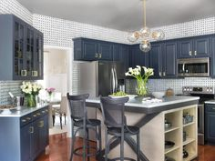 Cool Blue Kitchen Cabinets