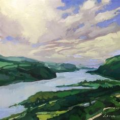"Daily Paintworks - ""Columbia River Gorge, Portland"" - Original Fine Art for Sale…"