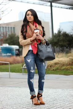 OUTFIT DETAILS Blazer: H&M (old) (Similar) Distressed Jeans: (Similar) Scarf:( Old) But love this one (Here) Shoes: Shoedazzle (Similar) Bag...