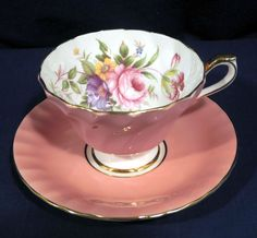 Aynsley Bone China Pink or Peach Fluted with Floral Flowers Cup and + Saucer Set | Pottery & Glass, Pottery & China, China & Dinnerware | eBay!