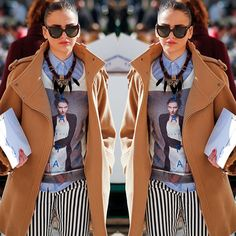 #stealthelook #look #looks #streetstyle #streetchic #moda #fashion #style #estilo #inspiration #inspired #calcalistrada #striped #camisaazul #casacobege #maxicolar