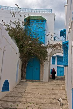 Sidi Bou Said, Tunisia. WHEN I make it back to Africa. My grandma loved it here and went often. <3