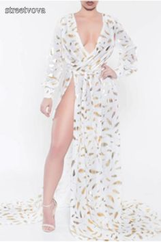 Sexy Side-Opening Golden Feather Printing Long-Sleeves Dress. maxi dress for wedding guest,style maxi dress,maxi skirt,maxi dress spring,maxi dress outfit casual,long maxi dress,maxi dress outfit #maxidresselegant #maxidress #maxidressoutfit #maxidressesgorgeous #streetstyle #dresses #fashion #streetvova White Long Sleeve Dress, Maxi Dress With Sleeves, Maxi Dresses, Dress Prom, Chiffon Dress, Evening Dresses, Party Dress, Floral Print Maxi Dress, Dress Brands