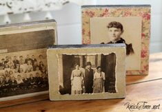 Wood Scraps and Antique Photographs...salvaged wood photo blocks