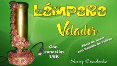 LÁMPARA VELADOR CON CONEXIÓN USB RECICLANDO BOTELLA DE VIDRIO (BANDERA DE CUBA) - YouTube