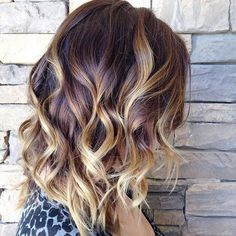 Reddish Brown Roots + Blonde Highlights Lob