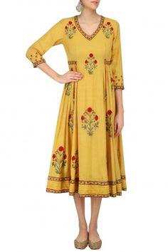 Abhishek Vermaa Mustard Embroidered Samode Tunic #happyshopping #shopnow #ppus
